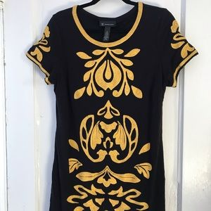 INC International Concepts Dresses - EUC Embroidered Black & Yellow Dress